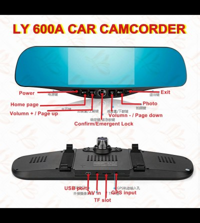 LY 600A multi-function Car camcorder,car navigation,5.0'' touch screen,android system,night version dual cameras,wifi,Bluetooth telephone,FM,blue film,full HD 1080P,1G ram,with 32G TF card