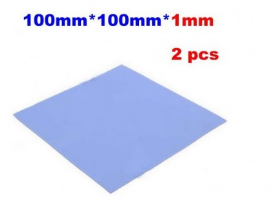 2 pcs/lot! 100 x 100 x 1mm heatsink thermal Conductive silicone pad for laptop GPU, CPU cooling