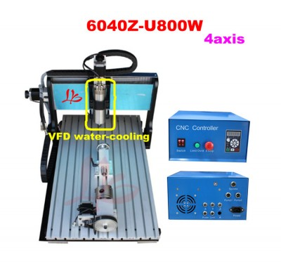 4 axis 6040 CNC engraving machine USB port connection, 800W spindle motor