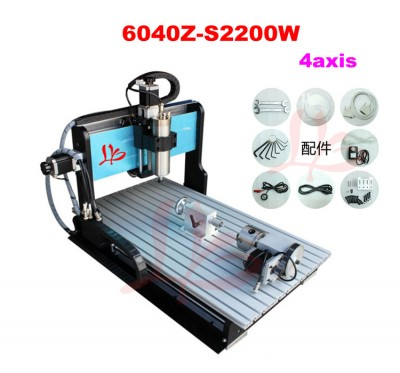4 axis CNC 6040 engraving machine with powerful 2.2KW spindle