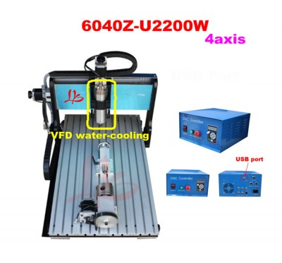 6040 CNC router 4 axis milling machine, 2.2KW spindle motor, Mach3 USB connection