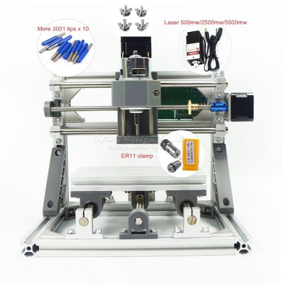 Disassembled pack mini CNC 1610 PRO without laser or with laser head 500mw/2500mw/5500mw CNC engraving machine Pcb Milling Machine Wood Carving machine diy mini cnc router with GRBL control