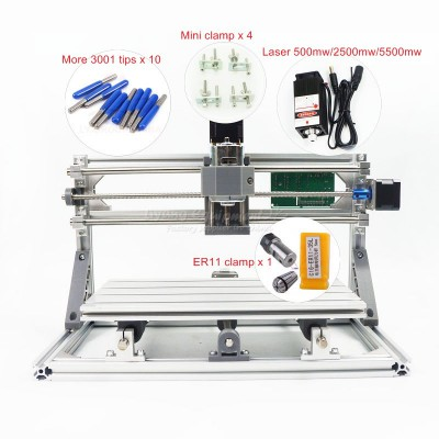 Disassembled pack mini CNC 3018 PRO without laser or with laser head 500mw/2500mw/5500mw CNC engraving machine Pcb Milling Machine Wood Carving machine diy mini cnc router with GRBL control