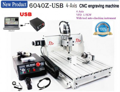 USB Port CNC 6040 Z-USB 1.5KW 4 Axis Milling Router Engraving Machine Desktop Engraver Mach3 Control