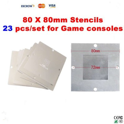 23 pcs/set BGA Reballing 80mm*80mm Game console Stencils for PS3, Xbox 360, Wii, etc