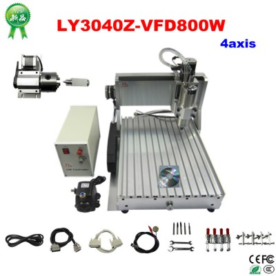 Factory sale price! 220V LY CNC 3040z-s 800W CNC milling machine, Rotary axis with limit switch