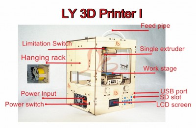 LY 3D Printer single extruder,woodern version opensource,3.175mm stuff ABS/PLA
