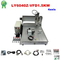 cnc router metal cutting machine with 4axis and Mach3 controller 6040Z-VFD1.5KW