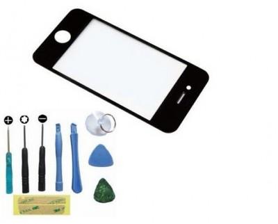 Black Front Repair Screen Replacement Glass Lens + Repair Tools Kit For iPhone 4 4S