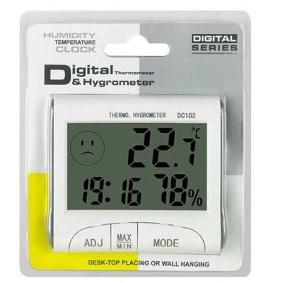 LCD Digital Thermometer Hygrometer Temperature Humidity Meter Clock w/ Magnetic DC102
